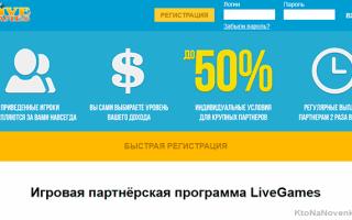 Livegames — партнерка, продвигающая игры из нашего детства